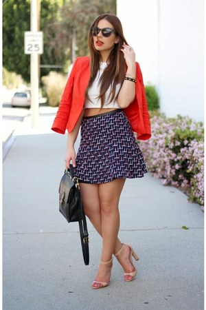 red Bebe jacket - navy tweed mini H&M skirt - tan Zara heels