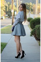 heather gray H&M skirt - white Forever 21 shirt - blue Urban Outfitters bag