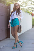 white Zara shirt - turquoise blue daily look shorts