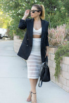 black Nasty Gal blazer - white Delacy skirt - tan ankle strap shoemint heels