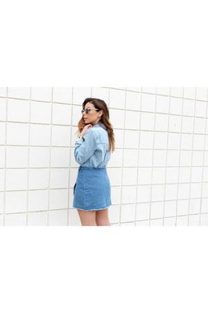 sky blue denim cotton on skirt - sky blue denim shirt Forever 21 shirt