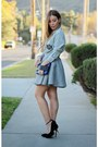White-forever-21-shirt-blue-urban-outfitters-bag-black-zara-heels
