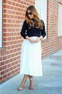 Navy-zara-top-white-asos-skirt-green-bebe-necklace
