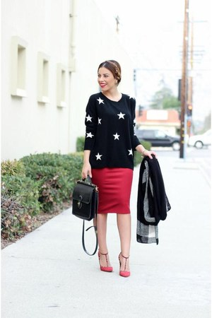 ruby red pencil skirt Zara skirt - black cashmere Bluefly sweater