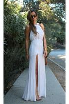 white Tobi dress - brown Fossil bag - peach Sseko sandals