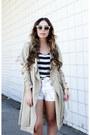 Dark-khaki-trench-coat-azalea-coat-white-vintage-levis-shorts