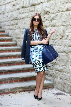 sky blue Peter Pilotto skirt - black greylin blazer - navy oversized Zara bag