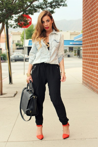 red suede point toe Shoe Cult heels - black Zara bag - black Love Label pants