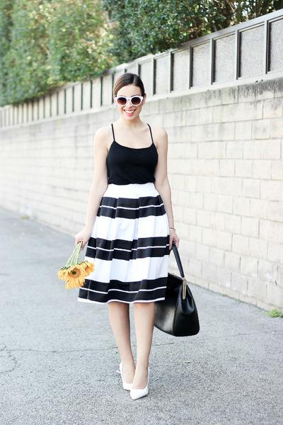 white retro Zara sunglasses - black tank top Topshop top
