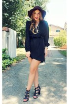 wool wide brim Target hat - daily look dress - Shoe Dazzle sandals