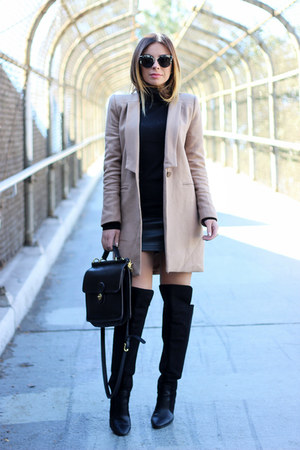 camel Lioness coat - black Zara boots - black turtleneck Zara sweater