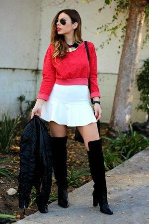 red cropped Zara sweater - black Zara boots - black vintage coach bag