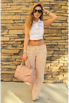 coral leather satchel botkier bag - peach linen stripe Michael Stars pants