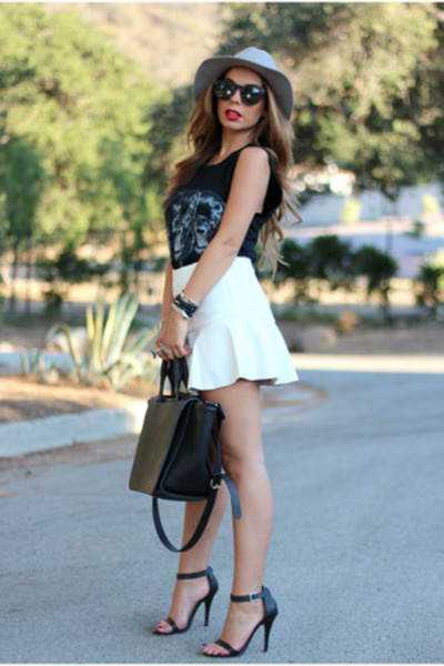 white daily look skirt - gray wool fedora hat cotton on hat