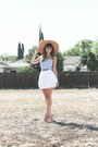 Tan-straw-hat-urban-outfitters-hat-white-white-akira-shorts