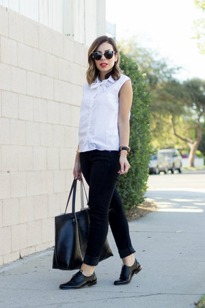 white bow asos shirt - black distressed StyleMint jeans