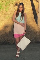 white Shoe Dazzle sandals - bubble gum mod color-block lulus dress