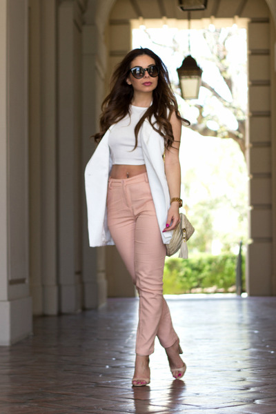 off white oversized Lulus vest - salmon high-waisted Lulus pants