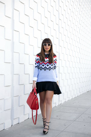 sky blue Old Navy sweater - red Old Navy bag - black banana republic heels