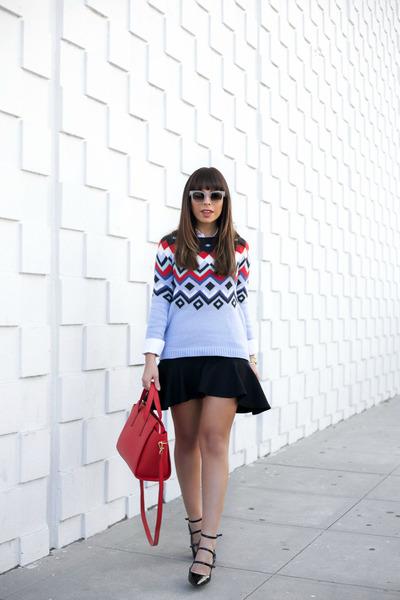 sky blue Old Navy sweater - red Old Navy bag - black banana republic heels