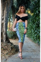 blue Love Label skirt - silver unknown bag - black LF top