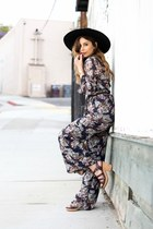navy jumpsuit lucca couture jumper - black brixton hat