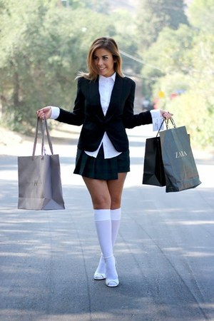 white Zara shirt - black blazer black Forever 21 blazer