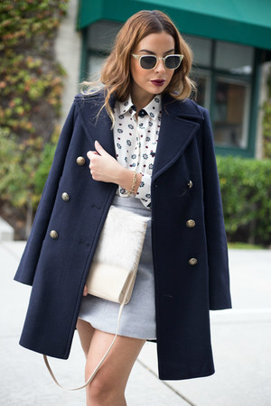 navy peacoat Marks and Spencer coat - tan fur Marks and Spencer bag