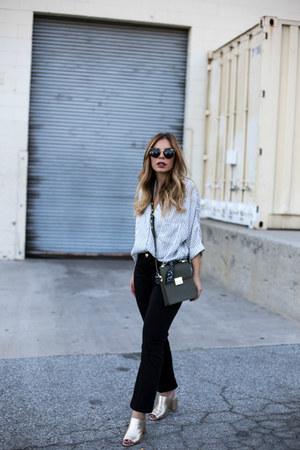 olive green box bag Zara bag - black cropped flare Joes Jeans jeans
