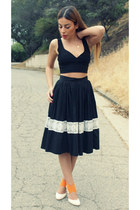 white vintage skirt - black Nasty Gal top - orange Goffredo Fantini heels