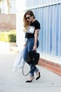 Blue-zara-jeans-black-lovers-friends-t-shirt-white-ankle-strap-schutz-heels