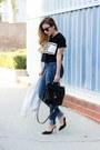Blue-zara-jeans-black-lovers-friends-t-shirt-white-ankle-strap-schutz-heels