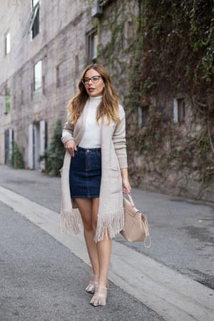 tan fringe NY & Company cardigan - white turtleneck Forever 21 sweater
