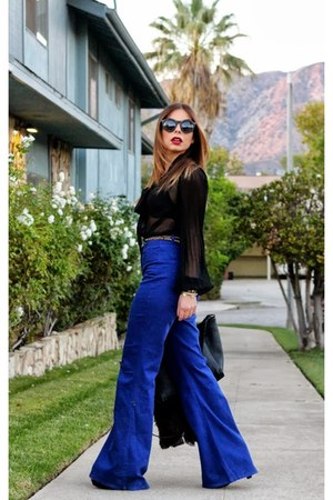 black South blouse - black Zara bag - blue American Apparel pants