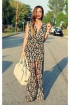 off white daily look bag - charcoal gray maxi slit sexy Boulee dress