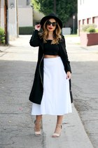 black W Concepts coat - white asos skirt - silver Sigerson Morrison heels