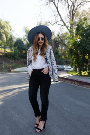 black fringe Zara jeans - light blue fedora brixton hat