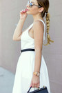 White-daily-look-dress-black-shoemint-sandals-black-ted-baker-belt