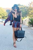 ruby red Gypsy Junkies jacket - black faux leather Zara bag