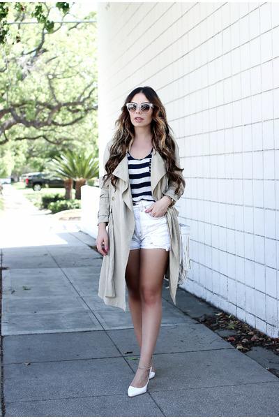 dark khaki trench coat Azalea coat - white vintage Levis shorts
