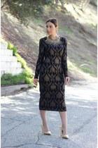 tan gold Zara heels - black midi Maggy London dress