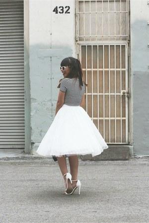 white retro Zara sunglasses - black leather black kate spade bag