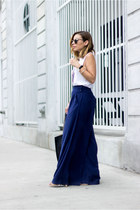 navy wide leg Joa pants - black tote oversized lulus bag