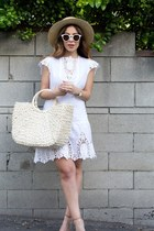white embroidered Alicia Bell dress - off white straw hat lack of colors hat
