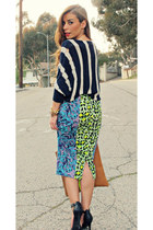 green print Love Label skirt - navy nautical Forever 21 sweater