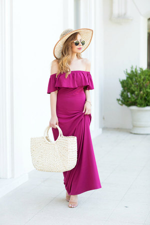 tan straw hat Henri Bendel hat - magenta modcloth dress