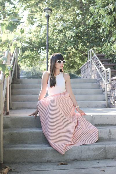 pink maxi skirt Chicwish skirt - white white Zara sunglasses