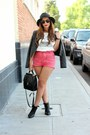 Black-shoedazzle-boots-black-nasty-gal-hat-red-urban-outfitters-shorts