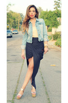light blue denim jacket Forever 21 jacket - peach Crooks and Castles top