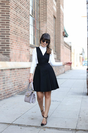 white turtleneck Forever 21 top - black pinafore jumper Lulus dress